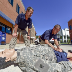 FLETC employs the life-saving training during an outdoor exercise.