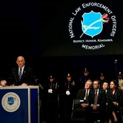 Secretary Kelly delivers remarks at the Police Week Candlelight Vigil. National Law Enforcement Officers Memorial Seal. Respect. Honor. Remember.