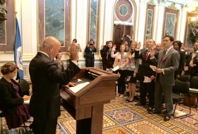 Deputy Secretary Mayorkas administers the Oath of Allegiance at a special naturalization ceremony in the Eisenhower Executive Office Building Indian Treaty Room. Official DHS photo.