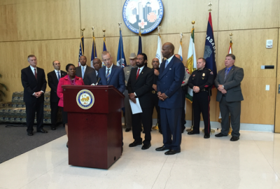 Dr. Brasure speaks at the Houston Securing the Cities press event.