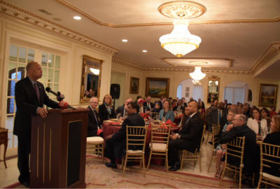 Secretary Johnson addresses participants and guests