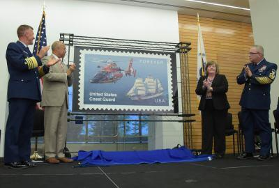 Commemorative stamp celebrates the Coast Guard's 225 years of service to the nation