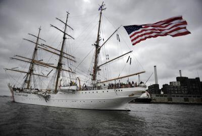 Image of Coast Guard Cutter Eagle, a 1,800-ton steel hull, three-masted sailing ship.