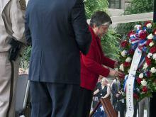 Secretary Napolitano lays a wreath during the CBP Valor Memorial and Wreath Laying Ceremony.