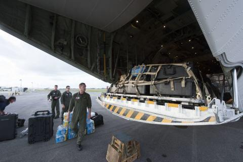 Coast Guard Air Station Miami aircrews load relief supplies for Puerto Rico after Hurricane Maria, Sept. 22, 2017. The Coast Guard's primary missions in Puerto Rico are search and rescue and port reconstitution. (U.S. Coast Guard photo by Petty Officer 3rd Class Ryan Dickinson)
