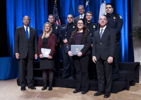 Secretary of Homeland Security Jeh Johnson and Deputy Secretary of Homeland Security Alejandro Mayorkas presented the Secretary's Unity of Effort Award to the Office of Intelligence and Analysis and U.S. Customs and Border Protection's Online Document Information Network