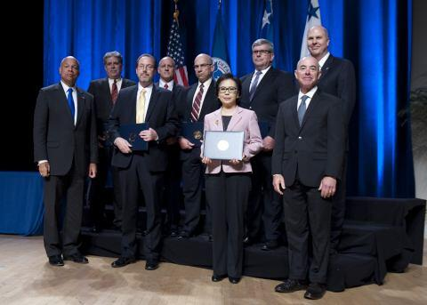 Secretary of Homeland Security Jeh Johnson and Deputy Secretary of Homeland Security Alejandro Mayorkas presented the Secretary's Unity of Effort Award to the Science and Technology Directorate Integrated Product Team