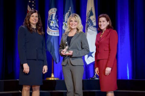 Jenny Bayles, Transportation Security Administration, receives the the Secretary's Award for Exemplary Service at the Department of Homeland Security Secretary's Awards Ceremony in Washington, D.C., Nov. 8, 2017. Bayles was honored for her technical and administrative expertise through creative improvements to better maintain financial reporting in TSA. Official DHS photo by Jetta Disco.