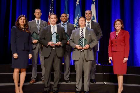 The U.S. Secret Service Presidential Protection Division, Peru Expedition Team receive the the Secretary's Award for Valor at the Department of Homeland Security Secretary's Awards Ceremony in Washington, D.C., Nov. 8, 2017. The team was honored for conducting a medical evacuation, while in Peru, of an officer bitten by a venomous snake, while continuing to provide security to their protectee. Official DHS photo by Jetta Disco.