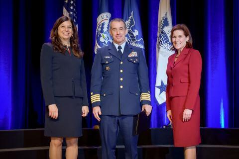 Capt. Peter Hatch, U.S. Coast Guard, receives the Secretary's Exceptional Service Gold Medal at the Department of Homeland Security Secretary's Awards Ceremony in Washington, D.C., Nov. 8, 2017. Hatch was honored for creating and institutionalizing the DHS-wide nomination, selection, and dismantlement process for Homeland Criminal Organization Targets, the top transnational criminal networks impacting homeland security. Official DHS photo by Jetta Disco.