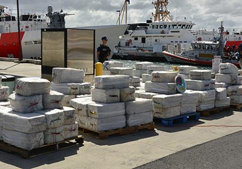 The Coast Guard offloaded approximately 4.2 tons of seized cocaine, worth an estimated $125 million in wholesale value, at Coast Guard Sector San Juan. (Photo courtesy of DEA)