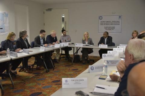 Secretary Nielsen and Secretary Carson met with Puerto Rico mayors to discuss ongoing recovery efforts. Secretary Nielsen thanked the mayors for their leadership and reiterated the Department's commitment to support recovery. The meeting included San Juan Mayor Carmen Julian Cruz, Ponce Mayor Maria Melendez, Cayey Mayor Rolando Ortiz, Guaynabo Mayor Angel Perez, Bayamon Mayor Ramon Luis Rivera, and Mayaguez Mayor Jose Guillermo Rodriquez. (DHS Official Photo/Jetta Disco)