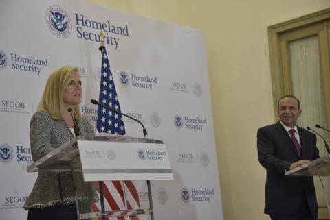 U.S. Secretary of Homeland Security Kirstjen Nielsen participated in a press briefing with Mexico Secretary of Interior Alfonso Navarrete Prida in Mexico City, Mexico, March 26, 2018.