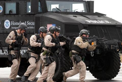 ICE training using armored vehicles