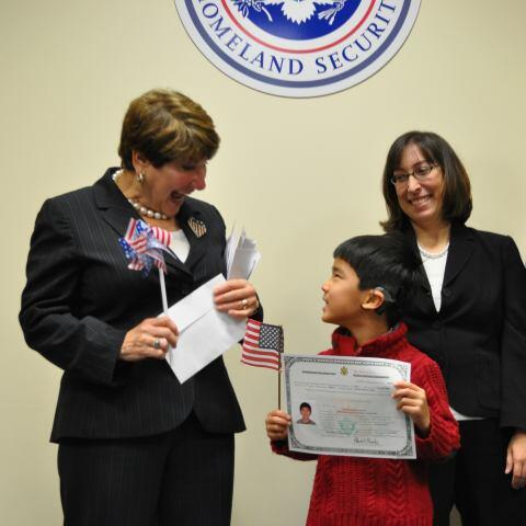 Newly Naturalized Child Congratulated (USCIS)