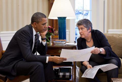 Secretary Napolitano Meets with President in Oval Office (HQ)