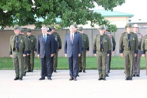 Commissioner Kerlikowske, CBP Chief Mark Morgan and Chief Dan M. Harris, Jr. stand in formation during the Change of Command Ceremony July 20, 2016 in Artesia, N.M.