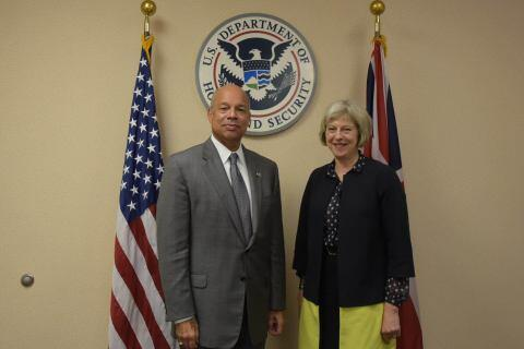 Secretary of Homeland Security Jeh Johnson meets with UK Home Secretary Theresa May to discuss a range of shared homeland security-related concerns in Washington, D.C., Wednesday, Sept. 30, 2015. (DHS Photo/Jetta Disco)