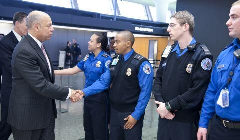 secretary jeh johnson meets with transportation security officers at dulles airport - Transportation Security Officer