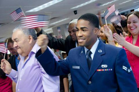 Military Service Member Participating in Naturalization Ceremony