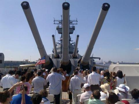 Ceremony Participants Aboard the Battleship