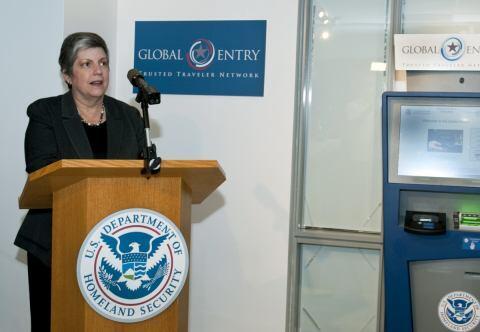 Secretary Napolitano speaking at the Global Entry Enrollment Center