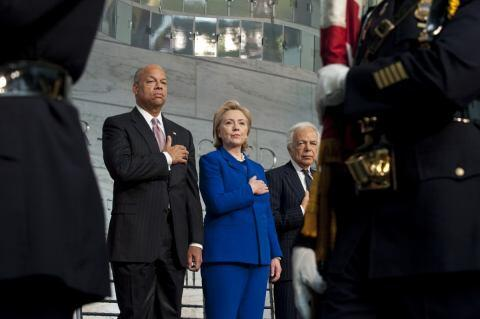 Secretary of Homeland Security Jeh Johnson and former Secretary of State Hillary Clinton