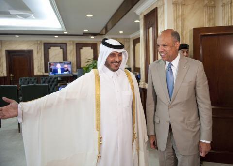 Secretary Johnson and His Highness Sheikh Abdullah Bin Naser Bin Khalifa Al-Thani