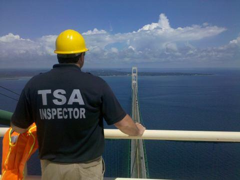 TSA inspector looks out onto view