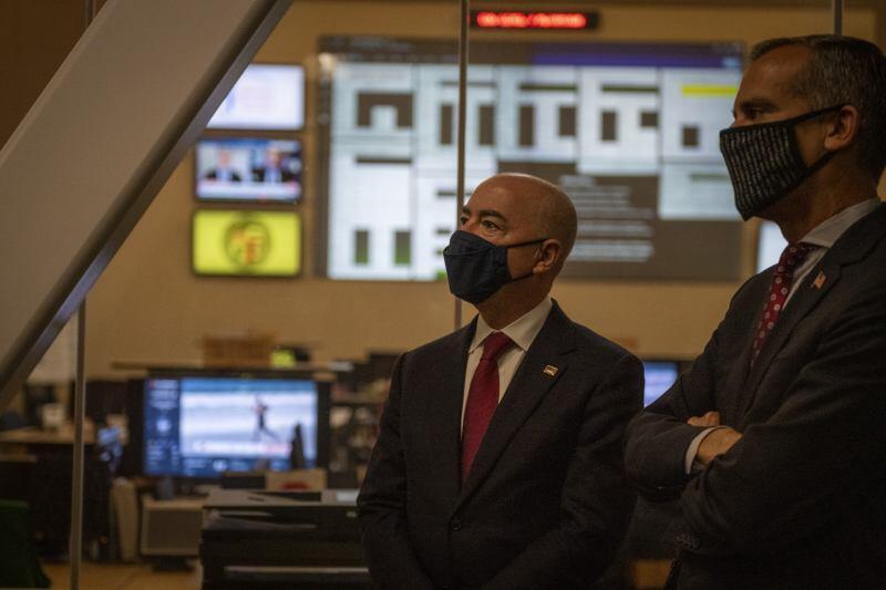 Secretary Mayorkas and Mayor Garcetti Visit LA Cyber Lab
