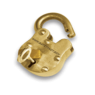 Gold lock (with open hinge) with the words www.safetyact.gov written across the front with a key in the keyhole just below the words