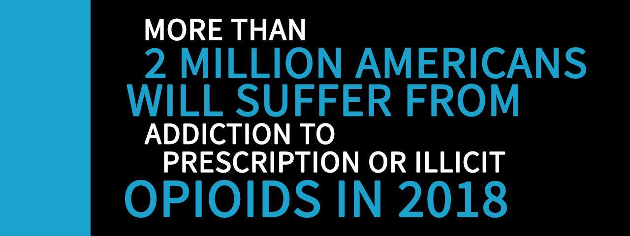 More than 2 million Americans will suffer from addition to prescription or illicit opioids in 2018