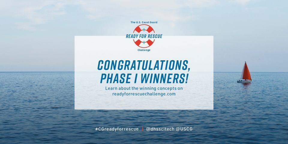 US Coast Guard Ready for Rescue Challenge logo. Congratulations Phase 1 Winners! Learn about the winning concepts on readyforresecuechallenge.com