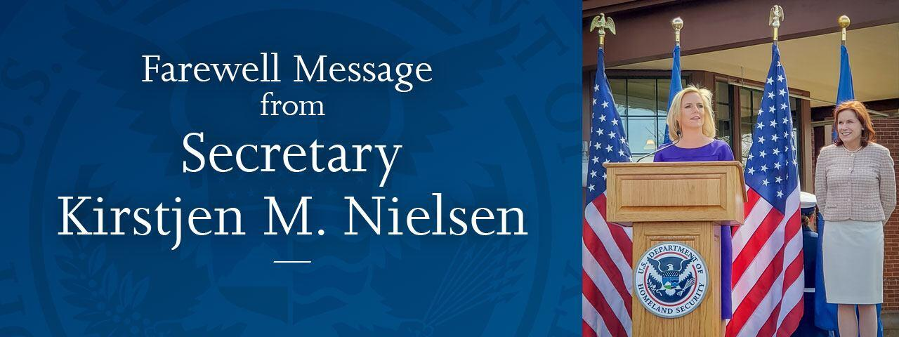 Farewell Message from Secretary Kirstjen M. Nielsen
