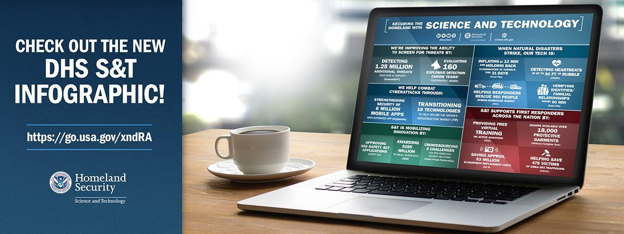check out the new DHS S&T Infographic. url: https://go.usa.gov/xndRA. Department of Homeland Security Science and Technology logo. Picture of a coffee cup and lap top with the infographic on the screen.