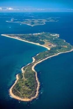 Ariel photo of an island known as Plum Island Animal Disease Center