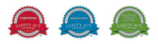 SAFETY ACT badges. Certified Safety Act badge is red, says Science and Technology.. www.safetyact.gov. Designated Safety Act badge is blue, says Science and Technology. www.safetyact.gov. Developmental Testing and Evaluation Designation badge is green. Says Safety Act www.safetyact.gov. Science and Technology.