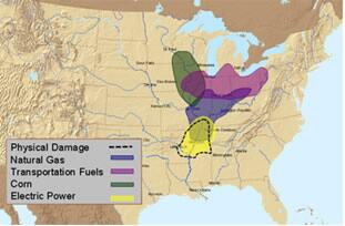 NISAC projections of geospatial extent of disruption to natural gas, transportation fuel, electric power, and corn infrastructure due to a hypothetical earthquake in the New Madrid Seismic Zone.