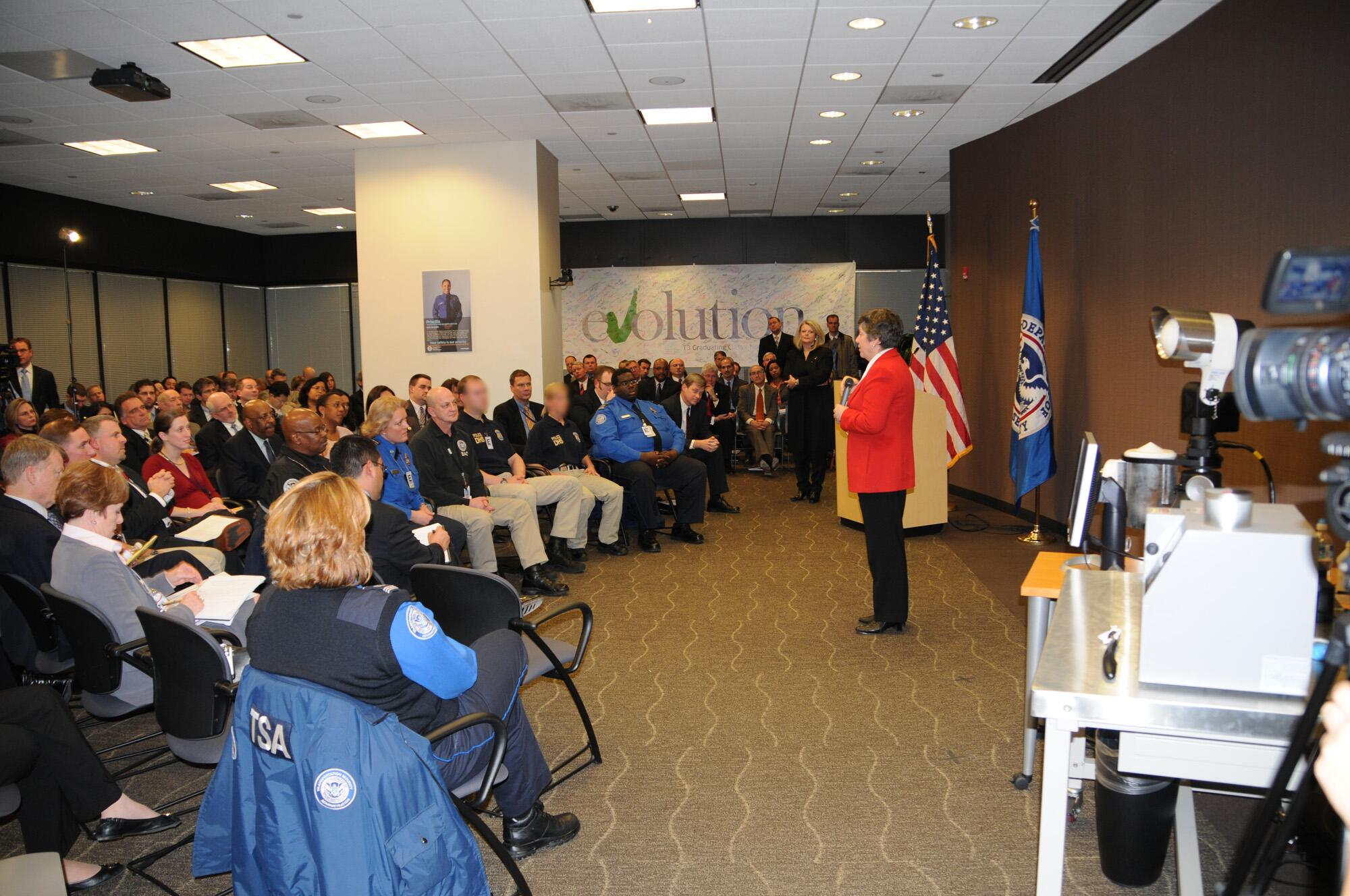 January 26, 2009 - Secretary of Homeland Security Janet Napolitano visits the Transportation Security Administration headquarters and conducted a town hall with TSA employees.   (TSA Photo/Dittberner