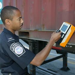 DHS Customs and Border Protection scanning a shipping container for nuclear materials.