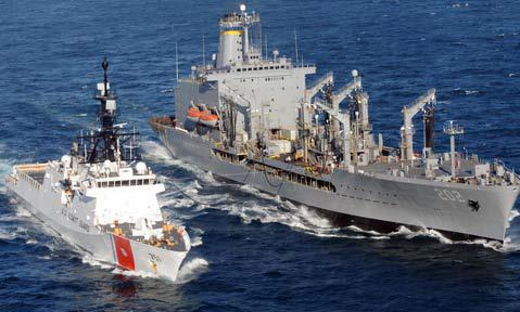 First time ever at-sea refueling of Coast Guard Cutter WAESCHE