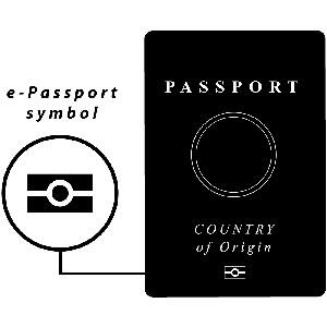 Depiction of e-Passport symbol on front of passport