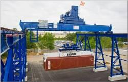 Located at the Transportation Security Laboratory, S&T's Cargo Security Test Bed lifts a 40-foot container.